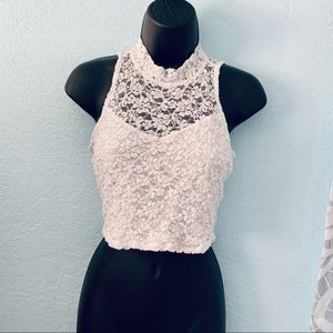 Paper & Tee White Lace Crop Top. Size Medium